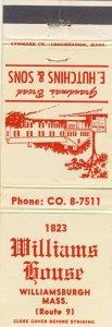 Williamsburg, Massachusetts/MA Match Cover, 1823 Williams House