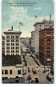 Denver, CO - Looking up Seventeeth St from Champa St - c1910 Postcard