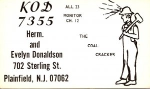 QSL Card KOD-7355 Herm and Evelyn  Donaldson Plainfield New Jersey