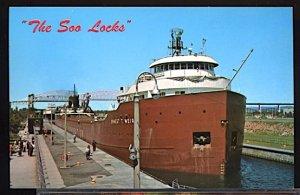 USA Postcard The Soo Locks Sault Ste. Marie Michigan SS Ernest Wier