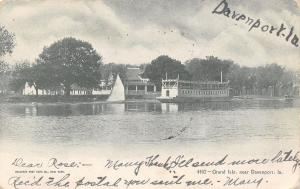 Davenport IA Squared-Off Steamboat @ Grand Isle~Sailboat 1907 UDB