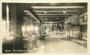 Bend Oregon 1920s Butte Inn Interior Lobby Pilot RPPC Photo Postcard 10865