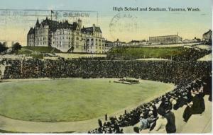 High School and Stadium ~ Tacoma Washington WA c1912 Postcard
