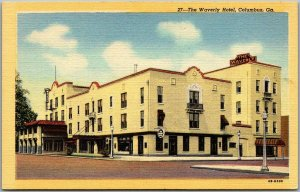 Columbus, Georgia Postcard THE WAVERLY HOTEL Street View CURTEICH Linen c1940s