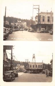 Placerville CA City Bell Tower~Theatre Double Bill~Liquor Store~Cafe~RPPC c1941