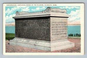Plymouth Memorial, Contains Bones Of The Pilgrims Vintage Massachusetts Postcard