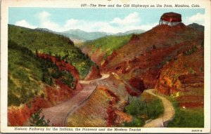 1937 UNPOSTED Postcard New and Old Highways on Ute Pass Manitou Colorado CO
