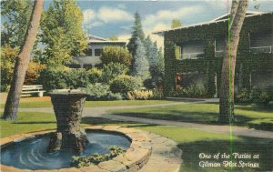 California Riverside San Diego Teich linen Gillman's Hot Springs Postcard 8164