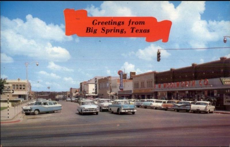 Big Spring TX Street Scene FW Woolworth & Old Cars Postcard