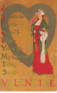 Valentine's Day Beautiful Girl Dressed As Queen With Roses