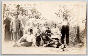 RPPC 3 Hunters w/Guns~Lady & Poodles~Man w/Top Hat~Mamas & Kids~Pipe Smoker 1916