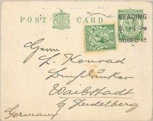 Entier Postal Stationery Postal Great Britain Great Britain 1913 to Helderber...