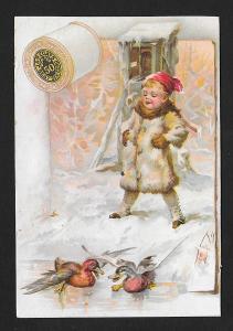 VICTORIAN TRADE CARD J&P Coats Thread Ducks & Child Snow