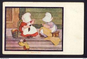SUNBONNET GIRL GIRLS - mending socks, making doll clothes - MENDING DAY