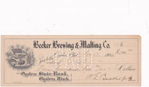 OGDEN , Utah , 1906 ; Becker Brewing & Maiting Company Check
