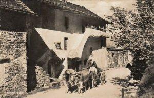 RP: MAGADINO , Switzerland, 1930s ; Ox Cart on Street