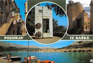 Croatia Pozdrav iz Baske, Street Houses Monument Harbour Boats Port Panorama