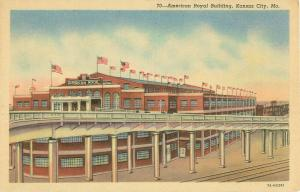 American Royal Building, Kansas City, Missouri MO Linen Postcard, U S Flags