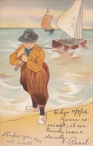 Dutch Man pulling in Sailboat to shore, PU-1906