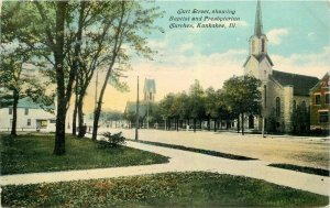 Kankakee Illinois Curt Baptist Presbyterian Churches 1911 Postcard 21-10503