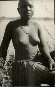 So Rhodesia Ethnography Nude Woman Tribal Scarring Real Photo Postcard spg