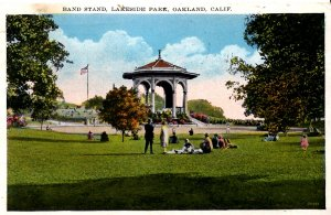 Oakland, California - Sitting on the lawn in Lakeside Park by the Band Stand