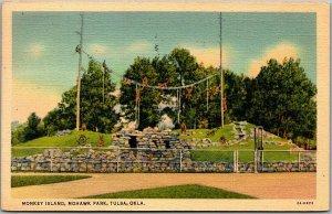 Tulsa, Oklahoma Postcard Monkey Island, Mohawk Park Zoo Scene Linen 1938
