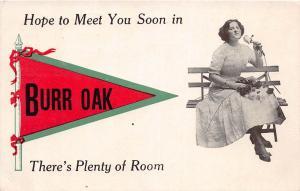 Michigan Mi PENNANT Postcard 1912 BURR OAK Hope to Meet you Soon