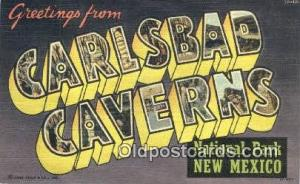 Carlsbad Caverns National Park, New Mexico USA Large Letter Town Vintage Post...