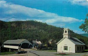 Stark New Hampshire~Covered Bridge and Church~Cross~Steeple~Rocky~1960s Postcard