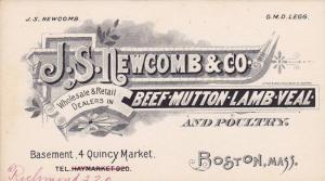 J.S. NEWCOMB & CO., Beef,Mutton,Lamb,Veal & Poultry , Quincy Market , BOSTON ...