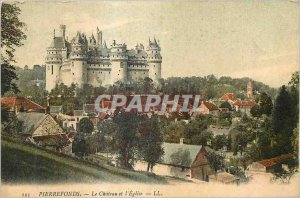 Old Postcard Pierrefonds Chateau and the Church