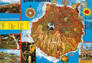 Spain Gran Canaria Island Map multiviews Playa Beach Cart Horses Church Eglise
