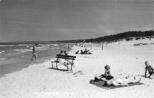 Pentwater MI Busy Beach Scene 1952 Real Photo Postcard