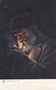 TUCK 1539, PU-1905; Lighting his Pipe, Firelight Effects