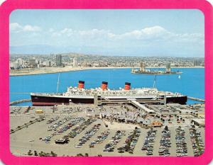 Official Postcard Queen Mary The Last Great Cruise, Pier J, Long Beach I24
