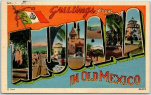1940s TIJUANA Mexico Large Letter Postcard HERZ Linen w/ Stamp & 1938 Cancel