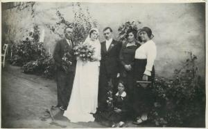 Vintage wedding real photo postcard groom and bride