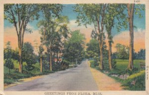 FLORA, Mississippi, PU-1943; Greetings, Rural Road Scene