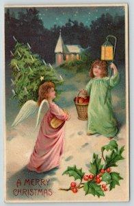 Christmas~Pink Lime Angel Girls~Candle Tree & Apple Basket~Lantern~Emboss BW 298