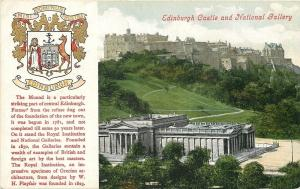 Edinburgh Scotland~Coat of Arms~Mound~Castle~National Gallery~1908 Postcard
