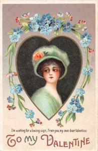 F3/ Valentine's Day Love Holiday Postcard c1910 Beautiful Woman Heart 19
