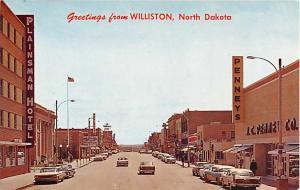 Main Street Scene Greetings from Williston ,ND, North Dakota, Chrome