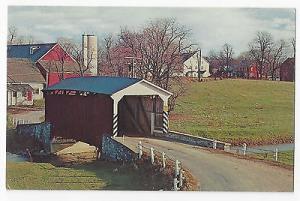 Landis Mill PA Covered Bridge Conestoga Creek Vtg Lancaster County Postcard