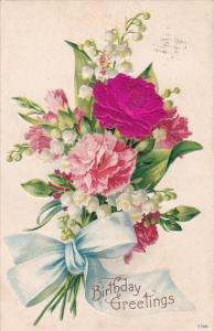 Happy Birthday With Beautiful Red and Pink Carnations 1913