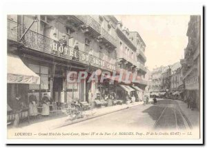 Lourdes Old Postcard Grand hotel Sacre Coeur Park and Henry IV (animated)