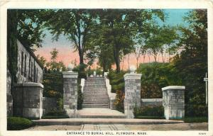 Plymouth Massachusetts~Steps Up to Burial Hill~Old Tombstones~1931 Postcard