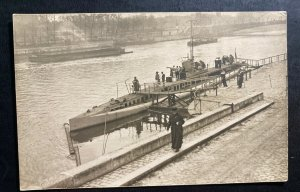 Mint WW 1 France Real picture Postcard Navy U Boat Submarine At Port