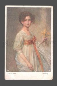080534 BELLE Girl w/ Flowers by VEITH vintage PC
