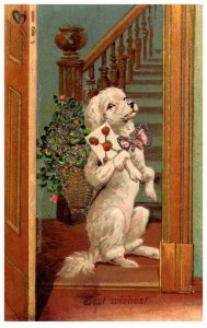Dog ,  Best Wishes , Dog standing , Bow tie, Card and glitter flowers